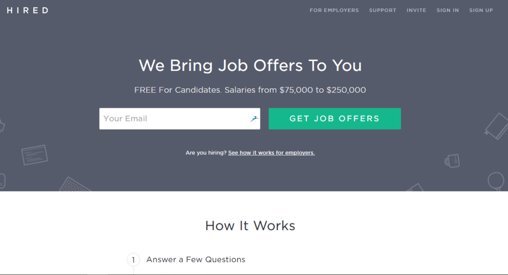 Hired.com home page