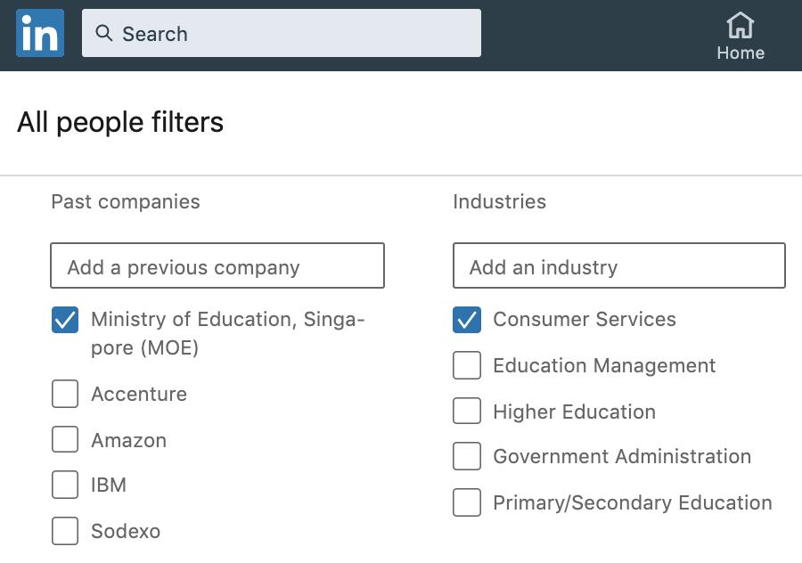 LinkedIn search bar - Industries Past Companies